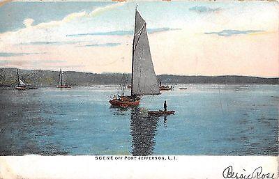 1906 Sailboats off Port Jefferson LI NY post card