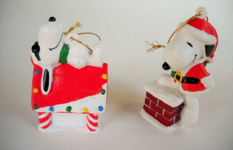 2 Vintage Peanuts Snoopy Santa Chimney & Dog House Christmas Ornaments