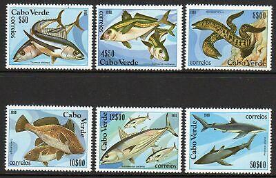 Cape Verde FISH 1980 Mint Never Hinged Complete Set of Six Scott # 410 - 415