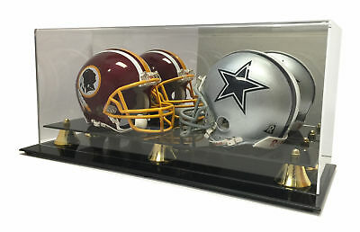 Double Football Display Case - New Double Football Mini Helmet Display Case with Mirror Back and Black Base