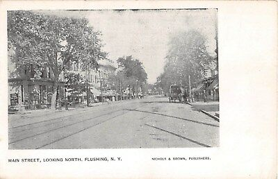 c. 1905 Stores Main St. looking North Flushing NY post card (Flushing Stores)