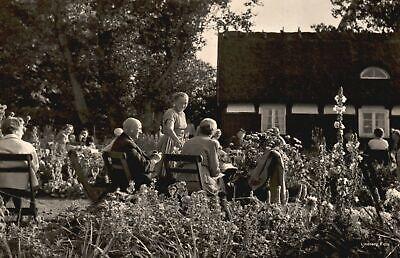 Vintage Postcard 1910's House Gathering Celebration Yard Flower Decorations RPPC