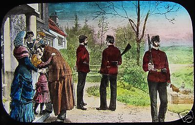 VICTORIAN Glass Magic Lantern Slide SOLDIERS OUTSIDE HOUSE C1890 DRAWING