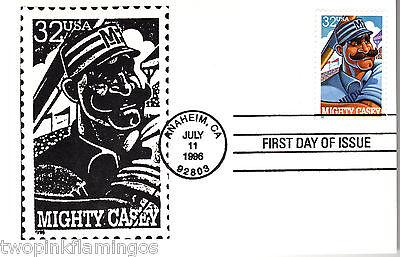 1996 AMERICAN FOLK HEROES BASEBALL MIGHTY CASEY CACHET POSTCARD FDC POSTMARKED
