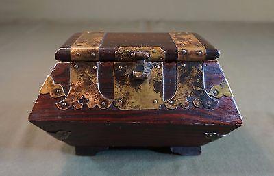 Very Fine Early 1900 ~ 20's Korean Jewelry Pinewood Box w Beautiful Brass Deco