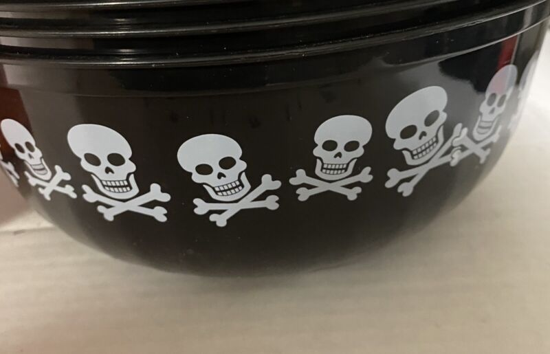 Halloween Candy Bowl Plastic Large Black And White Skull And Crossbones