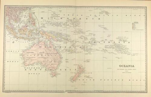 Oceania Australia c1888 from Picturesque Atlas Of Australasia Large Antique Map