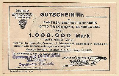 Hamburg Blankenese -Panther-Zigaretten- 1 Million Mark vom 17.08.1923