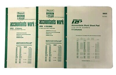 Vintage Boorum Pease Columnar Accounting Pad Lot Of 3 Notebooks 4-5 Column