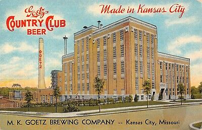 Kansas City MO Goetz Brewing Company~County Club~Smokestack~Linen Postcard 1936 - Party City Kansas City Missouri