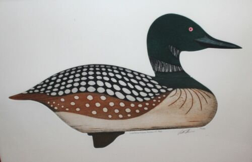 Arthur Nevin Common Loon Decoy Etching--Man Cave, Cabin, Lodge, or Den