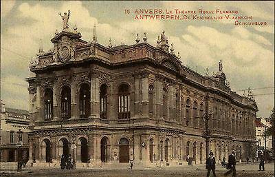 Antwerpen Anvers Belgien Color AK 1916 datiert königlich flämisches Theater