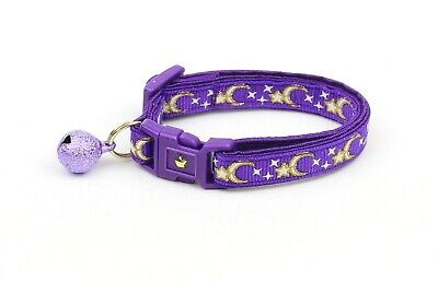 Pugs2Persians Gold Moon and Stars on Purple Cat Collar - Safety - Breakaway Purple Safety Cat Collar