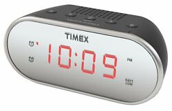 Timex T124B Dual Alarm Clock with 0.7 Red Display Radio Black