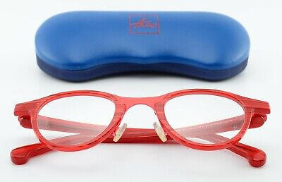 THEO BELGIUM Brille Modell Pourbus 012 Designer Panto Eye Frame Red + Blue Case