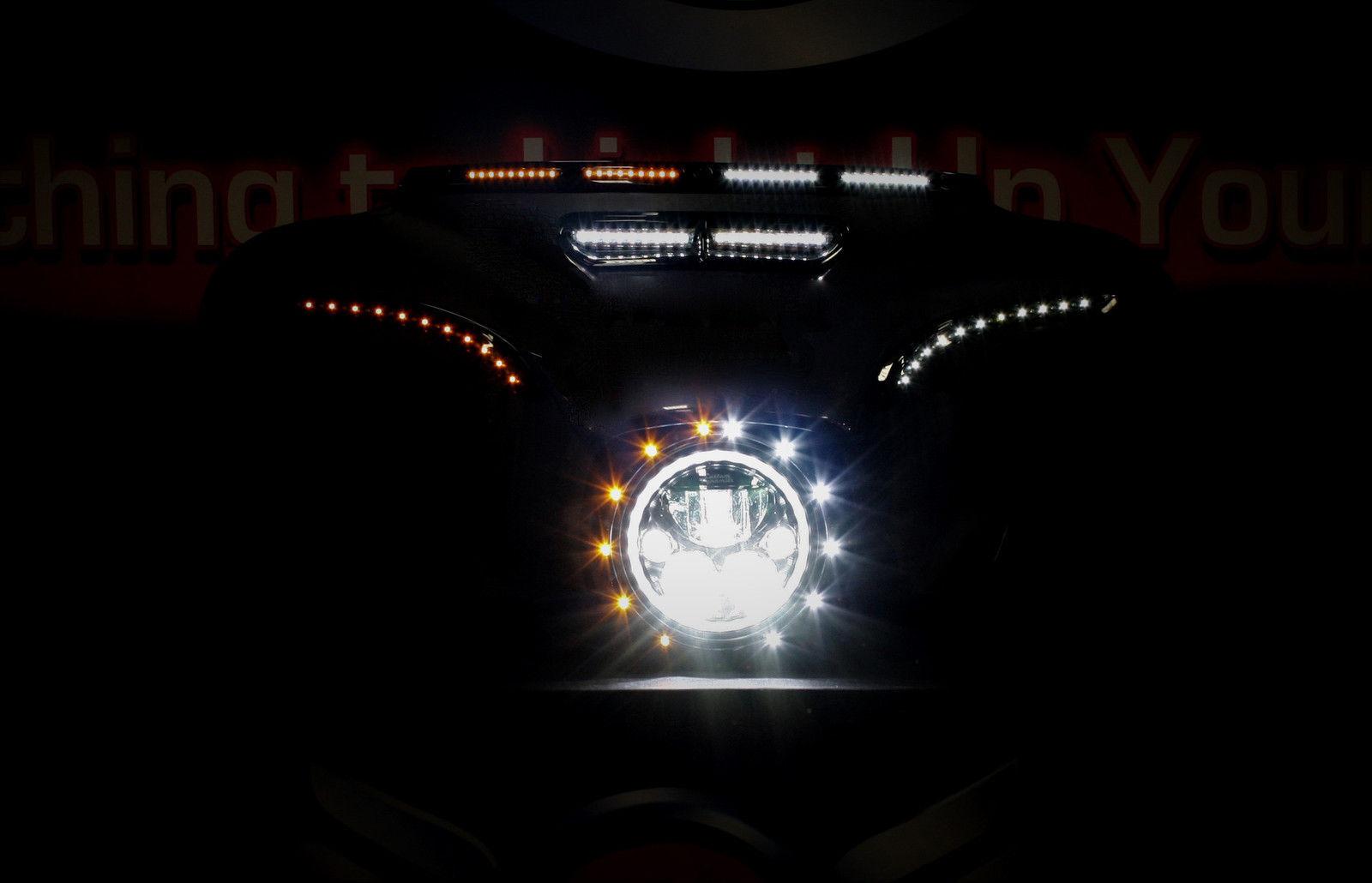 Custom Dynamics Black LED Batwing Amber & White Fairing Trim Harley Batwing 96-0