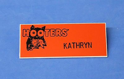 HOOTERS RESTAURANT GIRL KATHRYN ORANGE NAME TAG / PIN - Waitress Pin