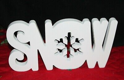 """SNOW SHELF SITTER, 11"""" Word Sign White Wood Christmas Table Top Decor"""