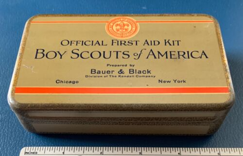 VTG BOY SCOUTS OF AMERICA Bauer & Black Official FIRST AID KIT & Belt Pouch BSA