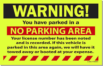 10 Yellow NO PARKING WARNING! Violation Tow Towing Auto Car Window Sign Stickers