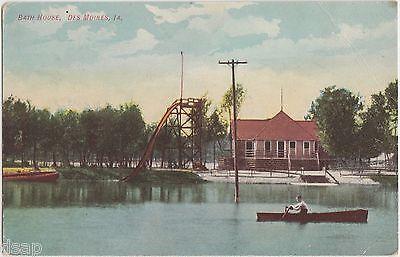 c1910 DES MOINES Iowa Ia Postcard BATH HOUSE Water SLIDE Ride Boat