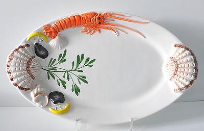 BASSANO KERAMIK   Fischplatte / Teller oval 35 cm    LANGUSTE MUSCHEL RELIEF Fischplatte
