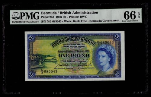 £1 1966 Bermuda / British Administration PMG 66 EPQ Gem Uncirculated