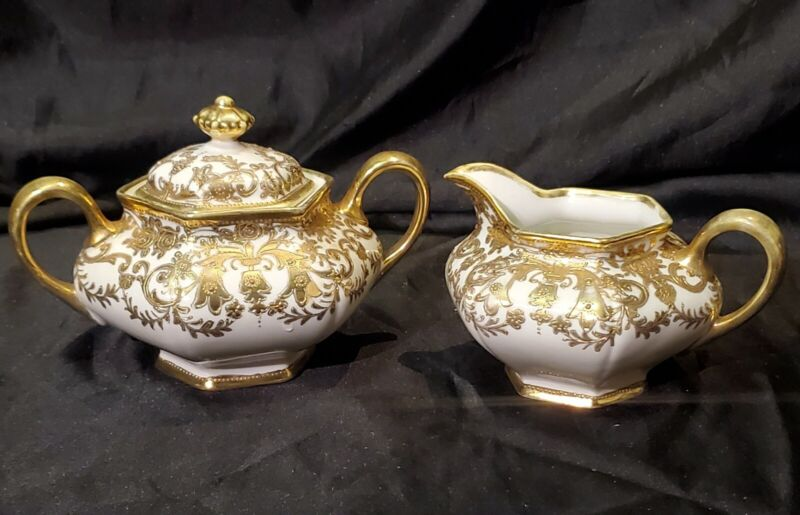 Antique Nippon Porcelain Gilt Gold Creamer Sugar Set