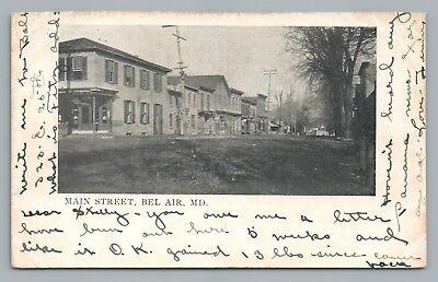 Main Street BEL AIR Maryland—Harford County Antique Postcard UDB (Harford Air)