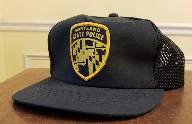 Maryland State Police Badge Patch Hat Trucker Cop VTG Mesh Snapback Trooper