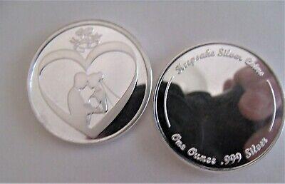 Wedding Coin 1oz Fine 999 Silver Bride & Groom Wedding Favor/Gift Free - Silver Gifts