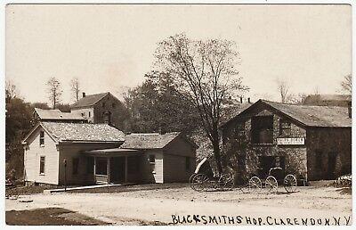 RARE Real Photo - Clarendon NY -  Blacksmith Shop  -  RPPC 1908 ()