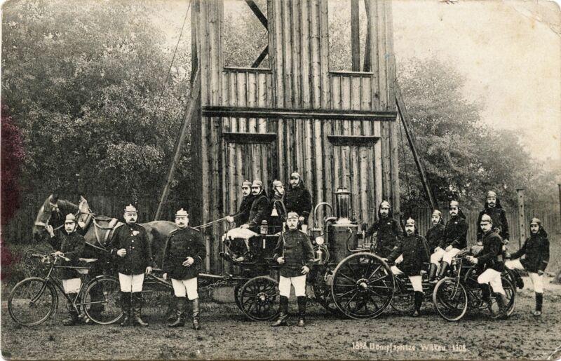 Wilkau i.S. Germany Fire Department 10th Anniversary 1908 Commemorative Postcard