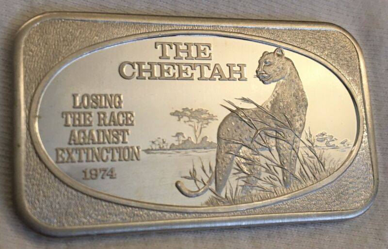 THE CHEETAH 1 Troy OZ Silver Art Bar 1974 Losing the Race Against Extinction 999