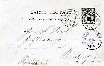 GA Ganzsache Frankreich 1886 Besancon Doubs nach Böblingen GA348