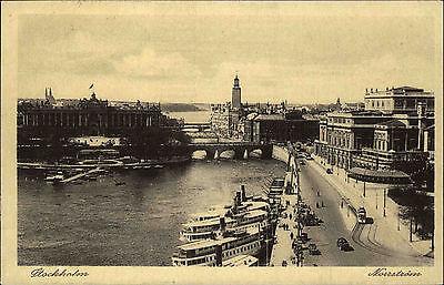 Stockholm Schweden alte Postkarte ~1930 Blick auf den Nörrström Schiffe Brücke