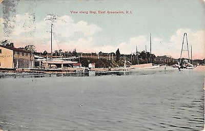 1910 Harbor along the Bay East Greenwich RI post card