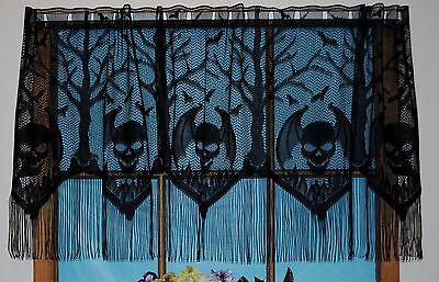 HERITAGE LACE BLACK HALLOWEEN GOTHIC SKULLS VALANCE W/FRINGE 22.5L BY 62W #4045