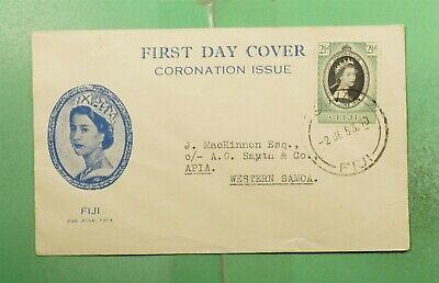 DR WHO 1953 FIJI FDC QEII CORONATION CACHET SUVA  g14550