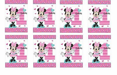 1st Birthday Party Loot Bags - 16 COUNTS Disney Baby 1st Minnie Treat Favor Birthday Party Loot Gift 16 Bags