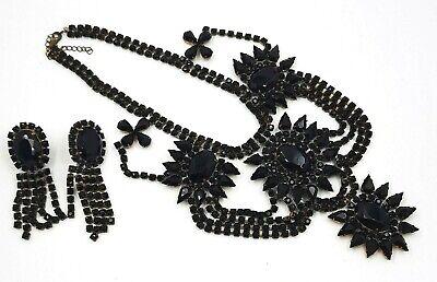60s -70s Jewelry – Necklaces, Earrings, Rings, Bracelets Czech Black Rhinestone Choker & Clip Drop Vintage Earrings Ladies 1960s $167.01 AT vintagedancer.com