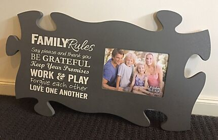 """Puzzle Piece Picture Frame """"Family Rules - Holds 5x7 photo"""
