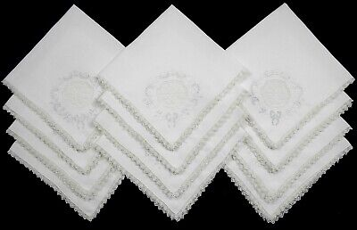 """12 Vintage White Linen Lace Edged w/Cutwork Embroidery Napkins 17"""" x 17"""""""