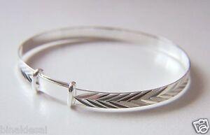 925 Silver New Born Babys Child Small Expander Christening BANGLE Bracelet GIFT