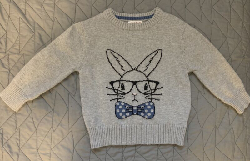 Cat & Jack Sweater Toddler Boy Gray Easter Bunny Rabbit 18 Months New