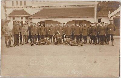 WWI GERMAN SOLDIERS Group Landwehr Reg 75 Uniforms Rifles Real Photo PC c1914