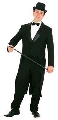 Frack mit Satinkragen in schwarz zum Herren Kostüm Karneval Fasching