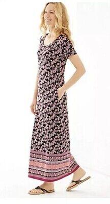 J. Jill Pink Black Paisley Border Print Maxi Stretch Dress Modest Sz Small P Border Print Dress