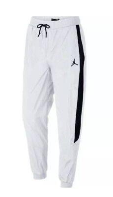 MEN'S NIKE JORDAN SPORTSWEAR DIAMOND TRACK PANTS WHITE BLACK AQ2686-100 Sz Large