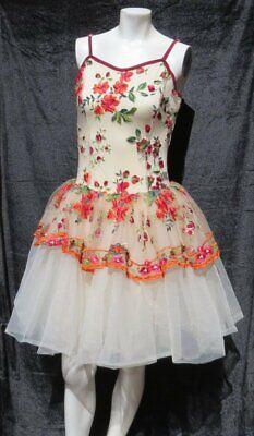 Vorhang Anruf Blumenmuster Gepresstes Blüten Trikot Kleid Tanzkostüm - Tanz Trikot Kostüm